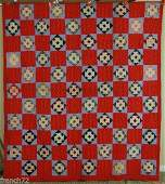 1880s Churn Dash Quilt Red Background