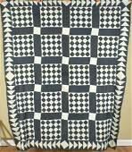 1880's Indigo Blue & White Quilt Top