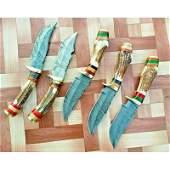 5 pcs SET survival damascus steel knife brass wood