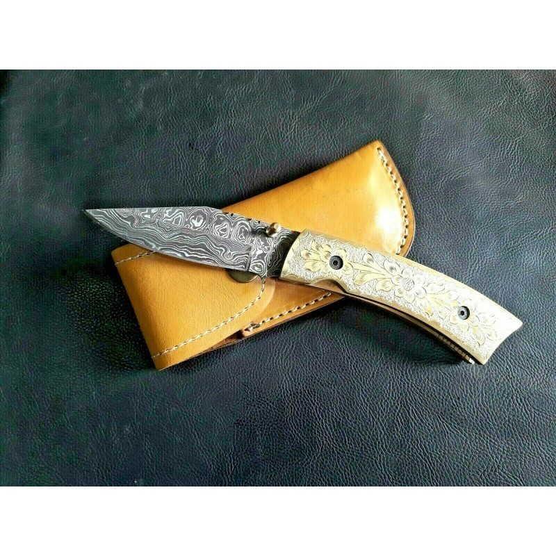 Everyday carry damascus steel knife full tang brass