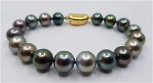 925 Silver - 8.5x11mm Shimmering Tahitian Pearls -