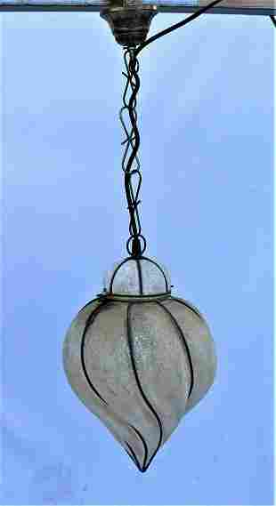 Italian Glass Lantern , Frosted seedy glass .from Italy