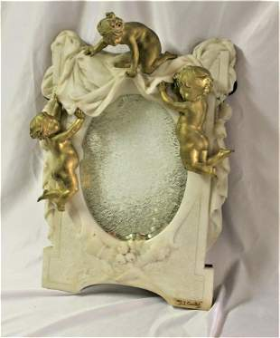 Antique Marble Mirror with Golden Putti , Italian