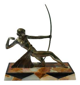 Art Deco Silvered Bronze Dianna the Archer Fancy Marble