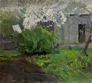 Oil painting Lonely house Les Vladimir Stepanovich