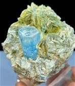 Aquamarine Specimen , Aquamarine Crystal with Mucovite