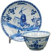 Kangxi Chinese Blue and White Teacup and Saucer