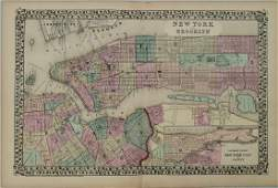 1877 Mitchell Map of New York and Brooklyn -- New York