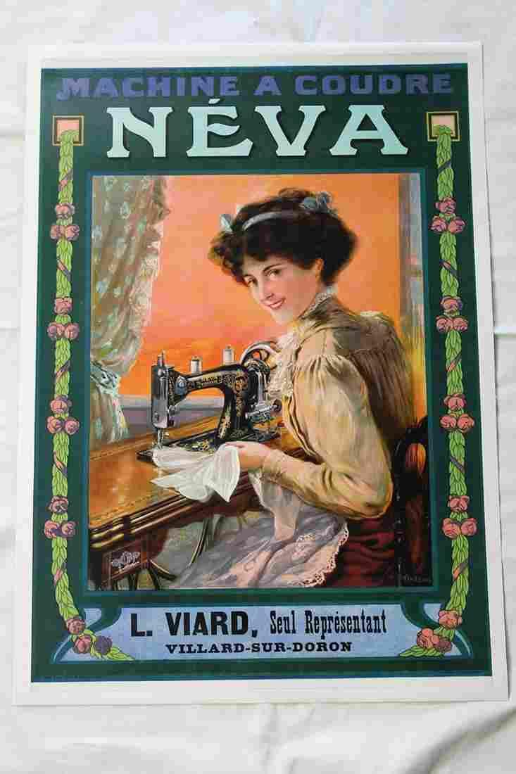 Nouveau sewing machine ad 'Neva' (France, 1880's)