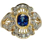 Diamond Sapphire Ring 18K Gold Band Vintage