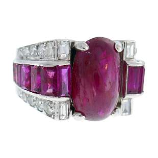 Late Art Deco Ruby Diamond Platinum Ring, 1930s Early