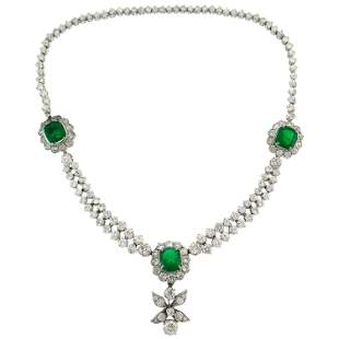 Art Deco Emerald Diamond Platinum Necklace 1930s with