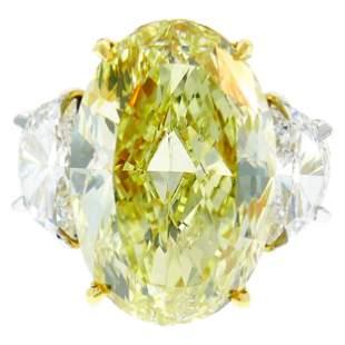 8.47 Carat Fancy Yellow Diamond GIA Platinum Ring