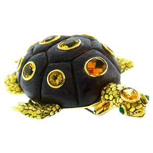 Seaman Schepps Yellow Gold Turtle Clip Brooch Pin with