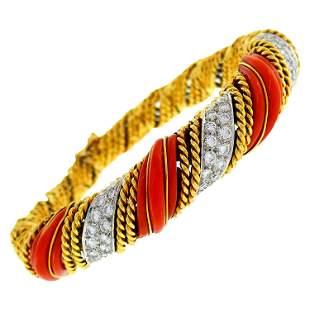 Tiffany & Co. Coral Diamond Gold Bangle Bracelet