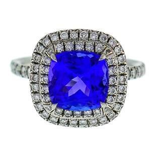 Tiffany & Co. Soleste Tanzanite Diamond Platinum Ring