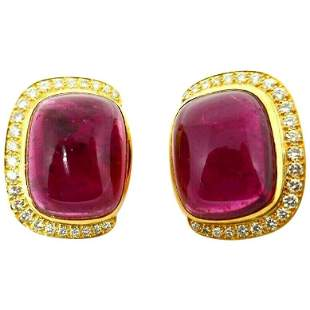 Andrew Clunn Pink Tourmaline Diamond Yellow Gold