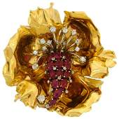 French Ruby Diamond Yellow Gold Flower Brooch Pin Clip,