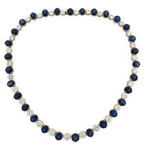 Natural Sapphire GIA Cert Diamonds Gold Riviere
