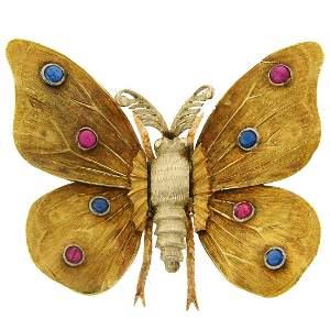 1950s MARIO BUCCELLATI Ruby Sapphire Yellow Gold