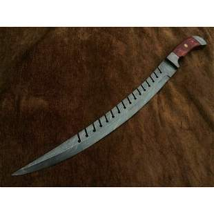 Butcher damascus steel sword wood damascus bolsters
