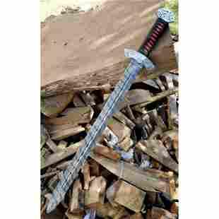 Hunting damascus steel sword handmade butcher