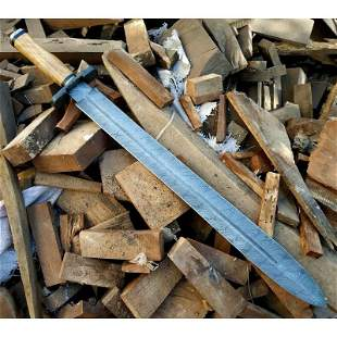 Handmade damascus steel sword olive wood