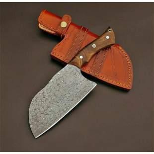 Integral damascus steel viking axe rose wood