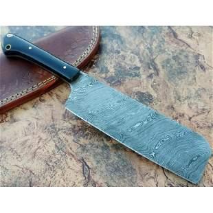 Integral damascus steel axe buffalo horn handmade