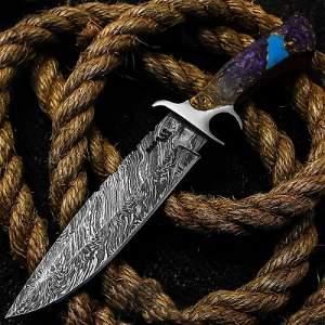 Hunting Damascus steel knife corelon handmade hiking