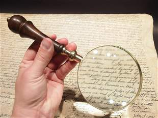 Magnifying Glass w Wood Turned Handle