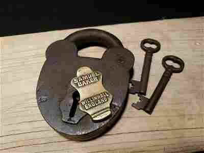 Cast Iron Padlock Lock & Key