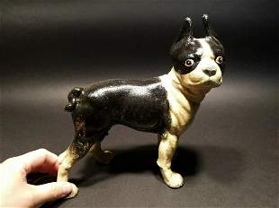 LARGE Antique Style Cast Iron Boston Terrier Coin Bank