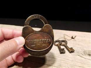 Cast Iron Winchester Firearms Ammo Box Padlock Lock &