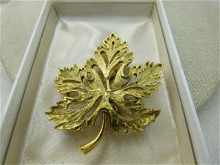 Vintage Gold Tone Leaf Brooch, Cut-Out, 1960's,
