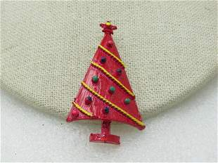 Vintage Enameled Red Christmas Tree Brooch, Clear Box,