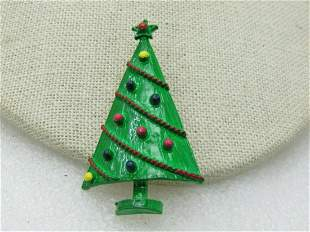 Vintage Enameled Christmas Tree Brooch, Clear Box,