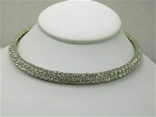 Vintage Double Row Rhinestone Choker Collar Necklace,