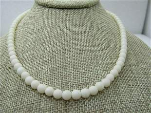 Vintage Early 1900's White Beaded Necklace, Silver