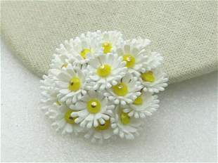 Vintage White & Yellow Floral Brooch, Hong Kong, 2""