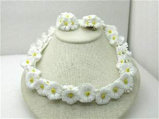Vintage White & Yellow Floral Necklace & Earrings,