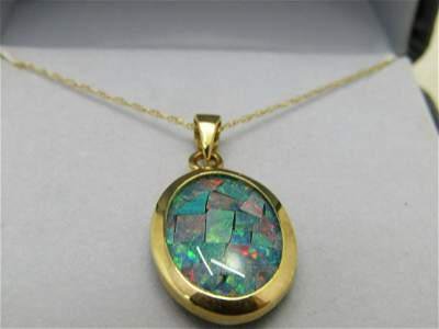 "14kt Mosaic Opal Necklace, Onyx Background, 18"", 2.72"