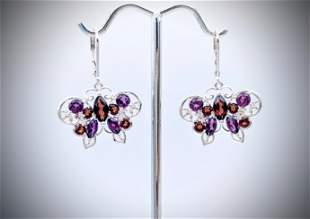 925 SS Butterfly Earrings w Almandine Garnet & Amethyst