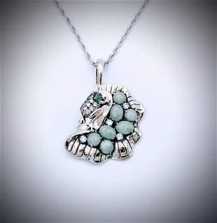 925 SS Italian Necklace w Emerald, Jade & CZ Pendant