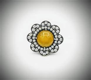 925 SS Sz 7 Ring w Round Yellow Jade & CZs