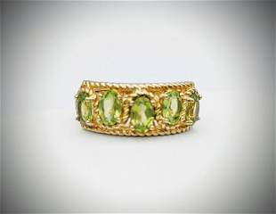 Gold Plated 925 SS Sz 7 Peridot Ring