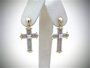 Gold Plated Cross Earrings w Diamond & Cubic Zirconia