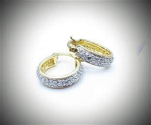 Gold Plated Hoop Earrings w Diamonds
