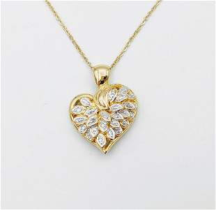Gold Plated Necklace w Diamond Heart Pendant