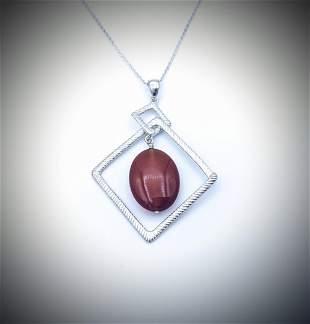 Necklace & Double Drop Squares w Carnelian Pendant
